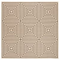 "Safavieh Linden Transitional Creme / Black Rug - 6'7"" x 6'7"" square"