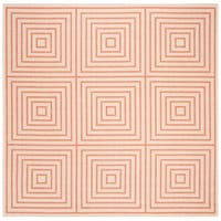 "Safavieh Linden Transitional Cream / Rust Rug - 6'7"" x 6'7"" square"