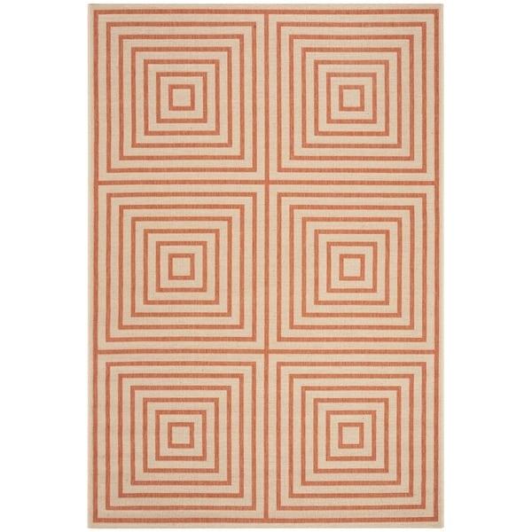 Safavieh Linden Contemporary Cream / Rust Rug (6'7' x 6'7' Square)