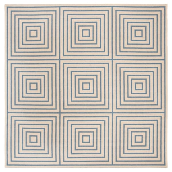 Safavieh Linden Contemporary Cream / Blue Rug - 6'7' x 6'7' Square