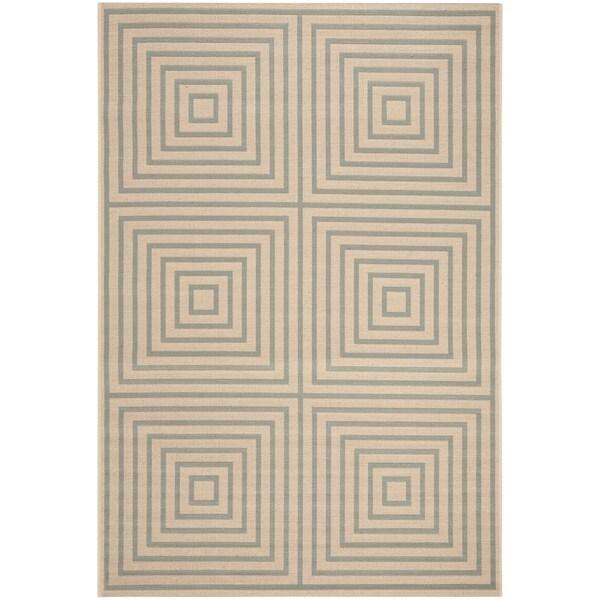 Safavieh Linden Contemporary Cream / Aqua Rug (6'7' x 6'7' Square)