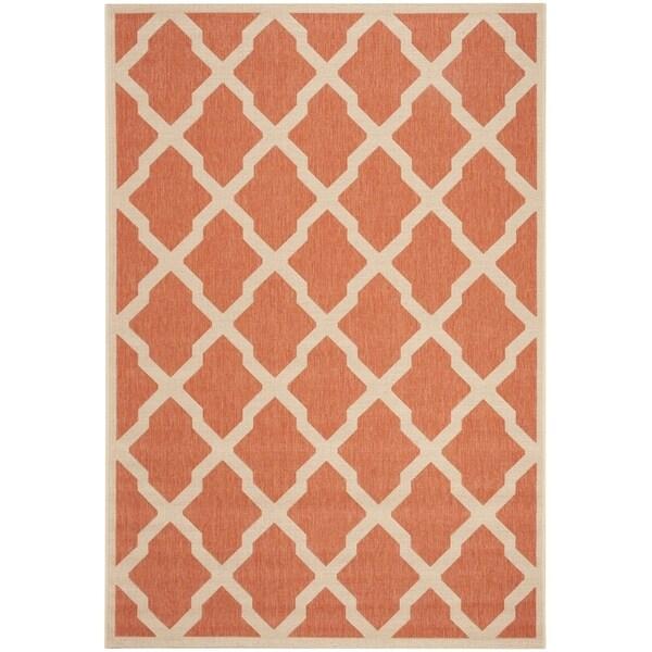 Safavieh Linden Contemporary Rust / Creme Rug - 6'7' x 6'7' Square
