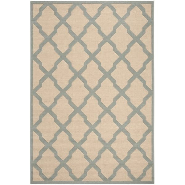Safavieh Linden Contemporary Cream / Aqua Rug (6'7' x 6'7' Square)