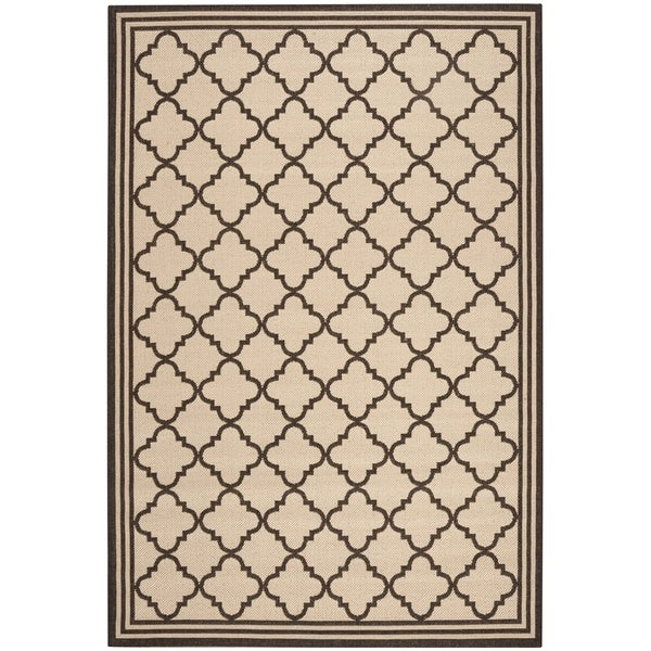 Safavieh Linden Contemporary Creme / Brown Rug - 6'7' x 6'7' Square