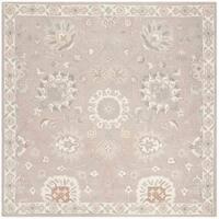 Safavieh Handmade Heritage Traditional Silver / Ivory Wool Rug - 6' x 6' Square