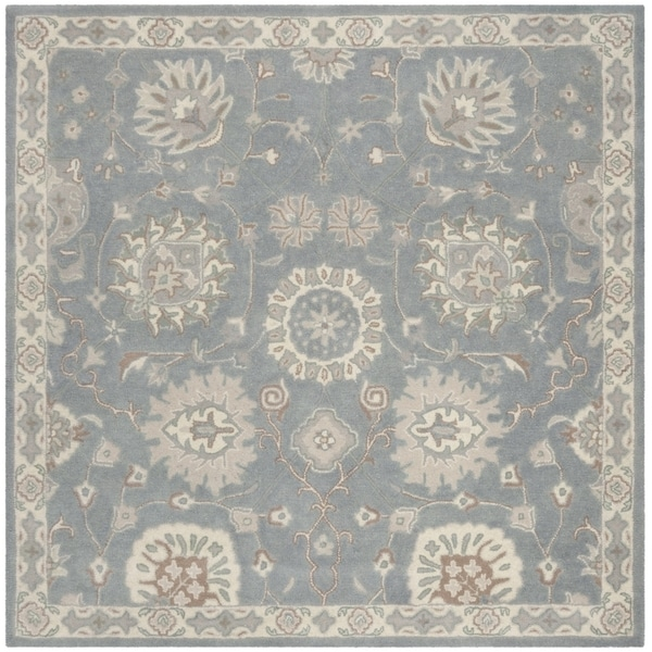 Safavieh Handmade Heritage Traditional Grey / Ivory Wool Rug - 6' x 6' Square