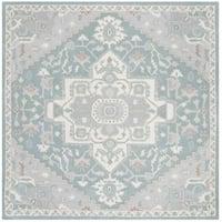 Safavieh Handmade Heritage Traditional Blue / Ivory Wool Rug (6' x 6' Square)