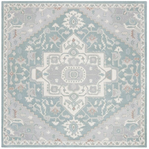 Safavieh Handmade Heritage Traditional Blue / Ivory Wool Rug - 6' x 6' Square