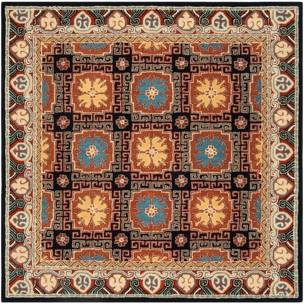 Safavieh Handmade Heritage Traditional Navy / Orange Wool Rug - 6' x 6' Square