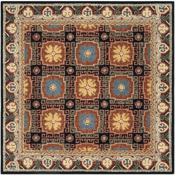 Safavieh Handmade Heritage Traditional Navy / Orange Wool Rug (6' x 6' Square)