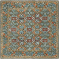 Safavieh Handmade Heritage Traditional Sage / Blue Wool Rug - 6' x 6' Square