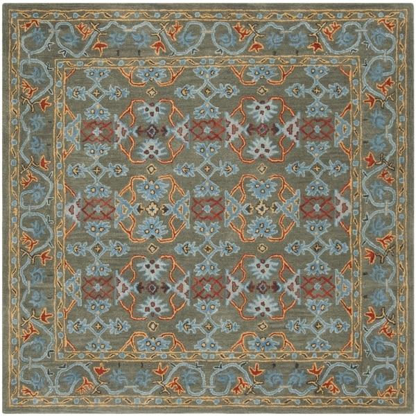 Safavieh Handmade Heritage Traditional Sage / Blue Wool Rug (6' x 6' Square)