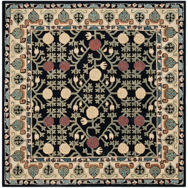 Safavieh Handmade Heritage Traditional Navy / Ivory Wool Rug - 6' x 6' Square
