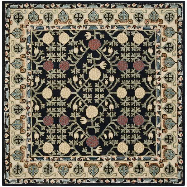 Safavieh Handmade Heritage Traditional Navy / Ivory Wool Rug (6' x 6' Square)