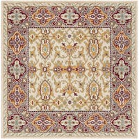 Safavieh Handmade Heritage Traditional Ivory / Blue Wool Rug - 6' x 6' Square