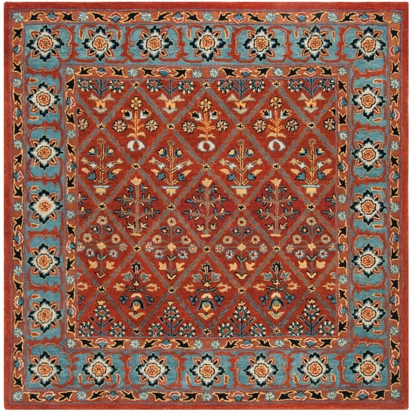 Safavieh Handmade Heritage Traditional Red / Blue Wool Rug - 6' x 6' Square