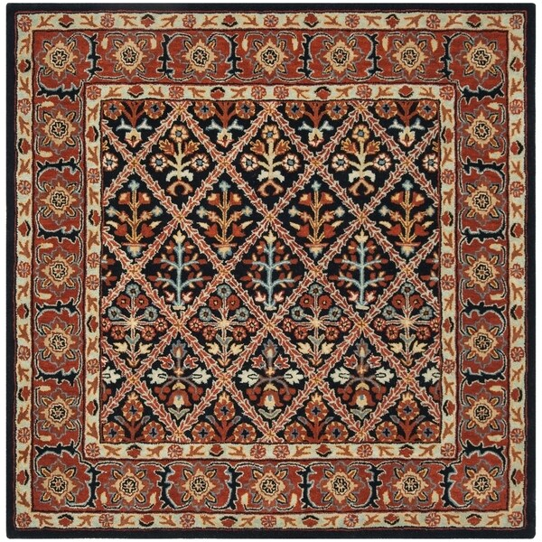 Safavieh Handmade Heritage Traditional Navy / Red Wool Rug (6' x 6' Square)