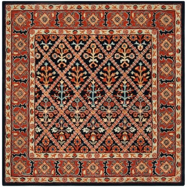 Safavieh Handmade Heritage Traditional Navy / Red Wool Rug - 6' x 6' Square