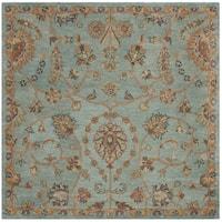 Safavieh Handmade Heritage Traditional Lightblue / Multi Wool Rug - 6' x 6' Square