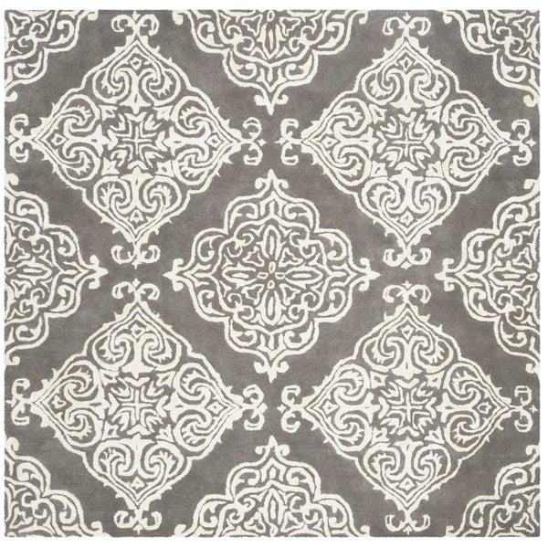 Safavieh Handmade Glamour Modern & Contemporary Darkgrey / Ivory Wool Rug - 6' x 6' Square