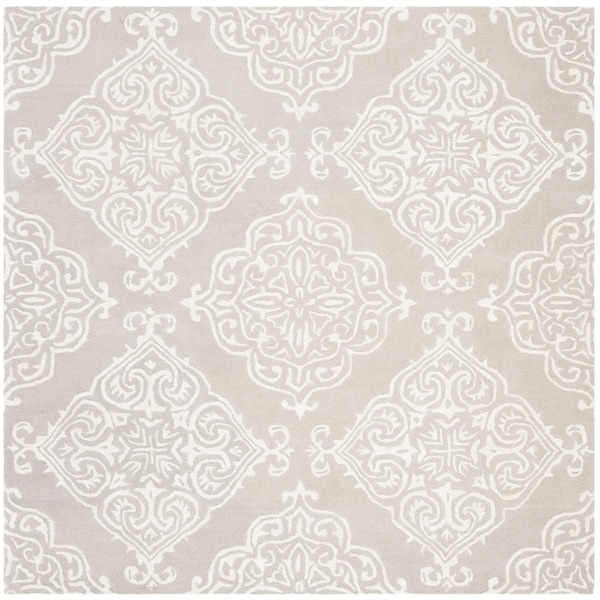 Safavieh Handmade Glamour Contemporary Silver / Ivory Viscose Rug - 6' x 6' Square