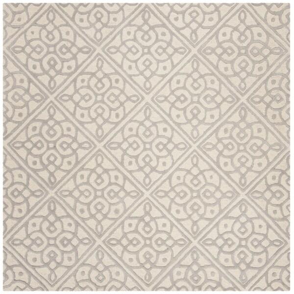 Safavieh Handmade Cambridge Contemporary Ivory / Grey Wool Rug (6' x 6' Square)