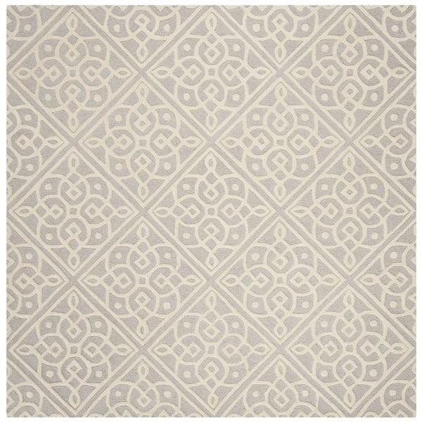 Safavieh Handmade Cambridge Contemporary Light Grey / Ivory Wool Rug (6' x 6' Square)