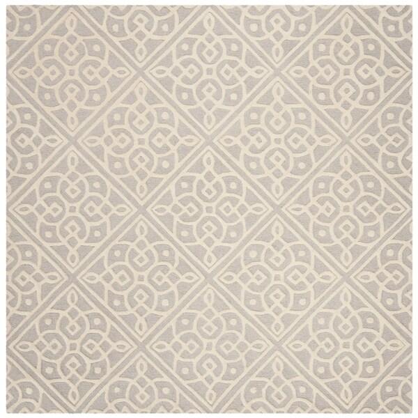 Safavieh Handmade Cambridge Contemporary Light Grey / Ivory Wool Rug - 6' x 6' Square