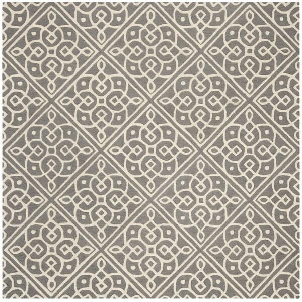 Safavieh Handmade Cambridge Contemporary Dark Grey / Ivory Wool Rug (6' x 6' Square)