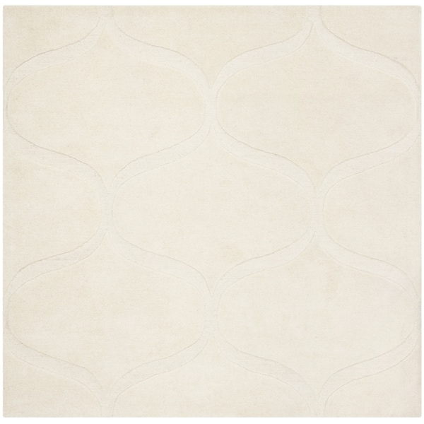 Safavieh Handmade Cambridge Contemporary Ivory / Ivory Wool Rug (6' x 6' Square)