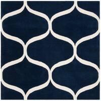 Safavieh Handmade Cambridge Modern & Contemporary Darkblue / Ivory Wool Rug - 6' x 6' Square