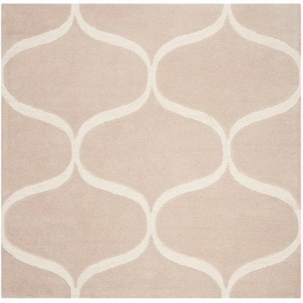 Safavieh Handmade Cambridge Contemporary Light Beige / Ivory Wool Rug - 6' x 6' Square