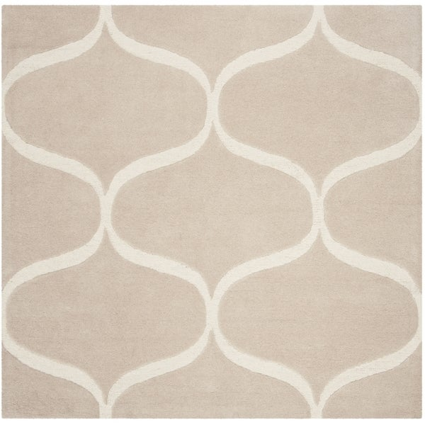 Safavieh Handmade Cambridge Contemporary Light Beige / Ivory Wool Rug (6' x 6' Square)