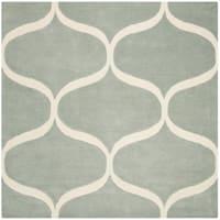 Safavieh Handmade Cambridge Modern & Contemporary Grey / Ivory Wool Rug - 6' x 6' Square