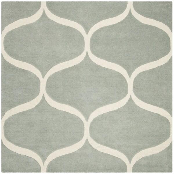 Safavieh Handmade Cambridge Contemporary Grey / Ivory Wool Rug (6' x 6' Square)