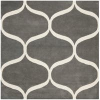 Safavieh Handmade Cambridge Modern & Contemporary Darkgrey / Ivory Wool Rug - 6' x 6' Square