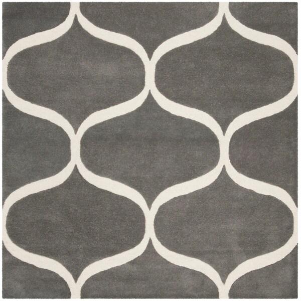 Safavieh Handmade Cambridge Contemporary Dark Grey / Ivory Wool Rug - 6' x 6' Square