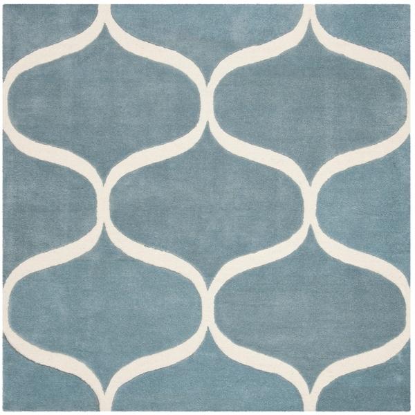 Safavieh Handmade Cambridge Modern & Contemporary Lightblue / Ivory Wool Rug - 6' x 6' Square