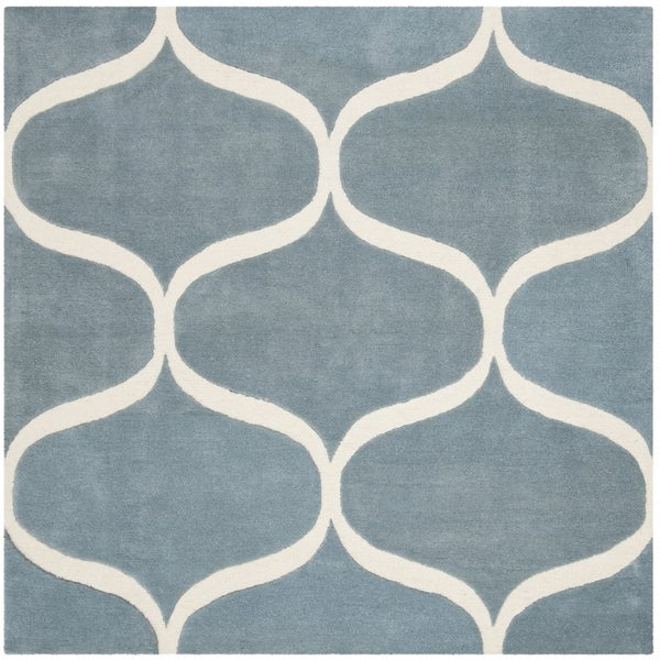 Safavieh Handmade Cambridge Contemporary Light Blue / Ivory Wool Rug - 6' x 6' Square