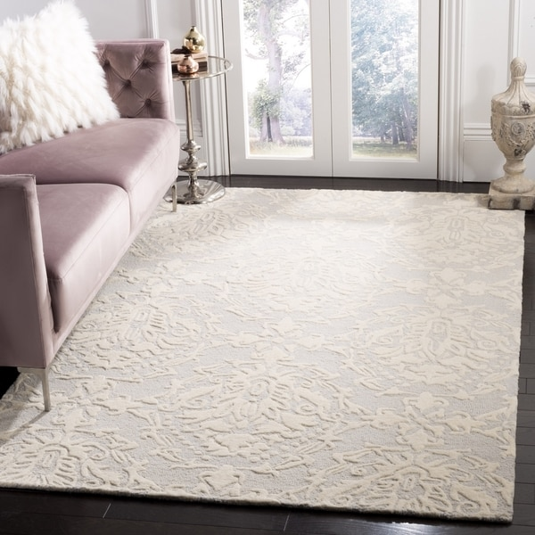 Safavieh Handmade Blossom Contemporary Light Grey / Ivory Wool Rug (6' x 6' Square)