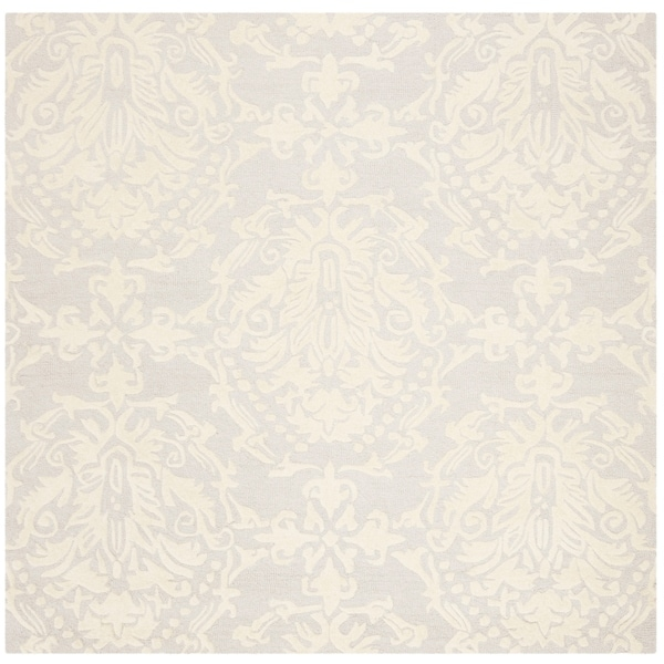 Safavieh Handmade Blossom Contemporary Lightgrey / Ivory Wool Rug - 6' x 6' Square