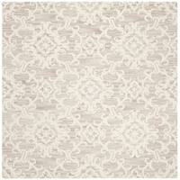Safavieh Handmade Blossom Contemporary Grey / Ivory Wool Rug (6' x 6' Square)