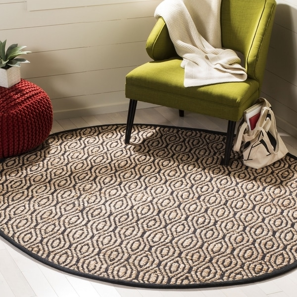 Safavieh Hand-Woven Cape Cod Contemporary Black / Natural Jute Rug (6' x 6' Round)