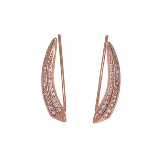 Eternally Haute 14k Rose Gold Plated Pave Quill Ear Climber