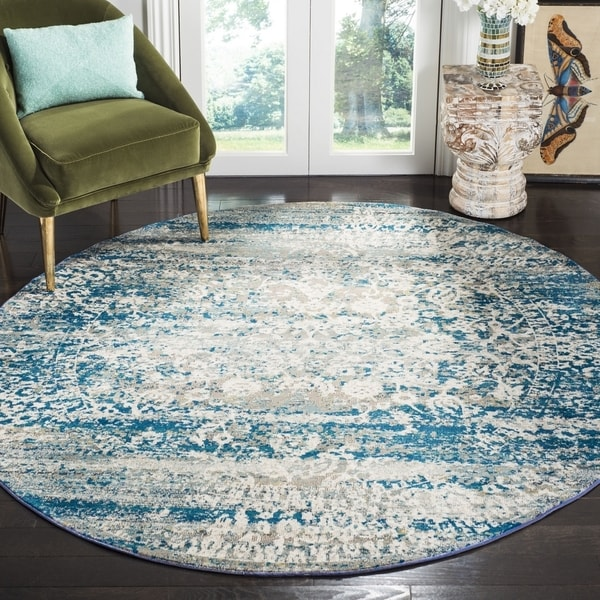 Safavieh Aria Vintage Blue / Creme Rug - 6'5' x 6'5' Round