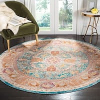 "Safavieh Aria Vintage Blue / Orange Rug - 6'5"" x 6'5"" round"