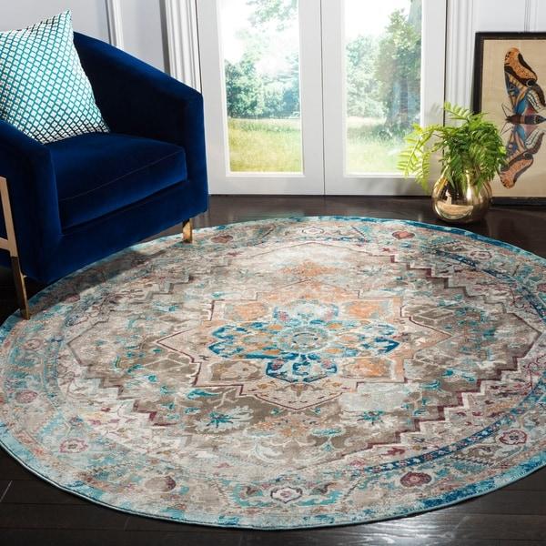 """Safavieh Aria Vintage Beige / Blue Rug - 6'5"""" x 6'5"""" round"""