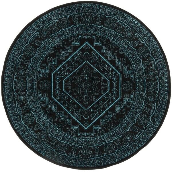 Safavieh Adirondack Vintage Black / Teal Rug - 6' x 6' Round