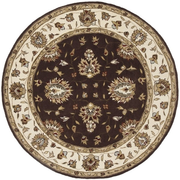 Safavieh Hand-Hooked Total Performance Traditional Brown / Ivory Rug (6' x 6' Round)