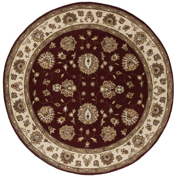 Safavieh Hand-Hooked Total Performance Traditional Burgundy / Ivory Rug (6' x 6' Round)